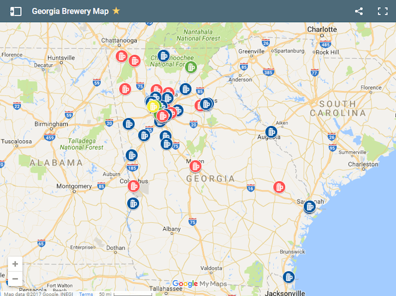 Map Of Georgia Helen.Georgia Breweries List And Map