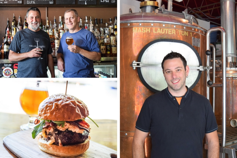 Twain's Brewpub and Billiards owners Uri and Ethan Wurtzel; new head brewer Mike Castagno, and a delicious burger. (photos courtesy Twain's)