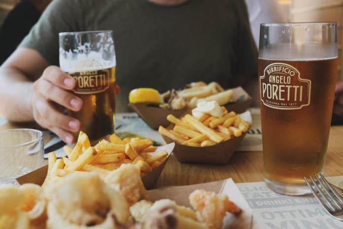 beer and fries