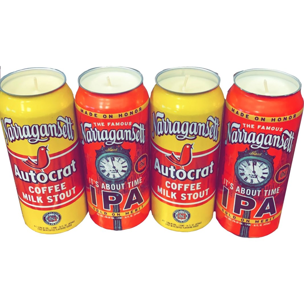 beer cans turned into candles