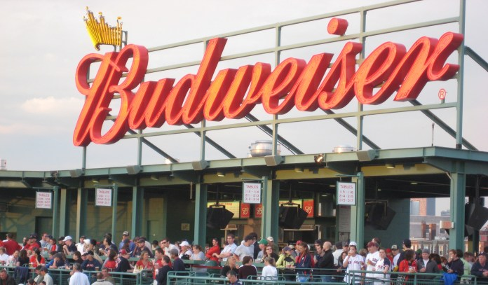 Budweiser sign hangs over Fenway Park in Boston