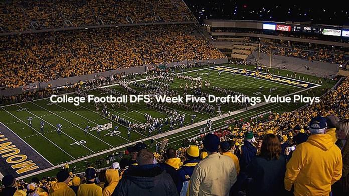 College Football DFS- Week Five DraftKings Value Plays