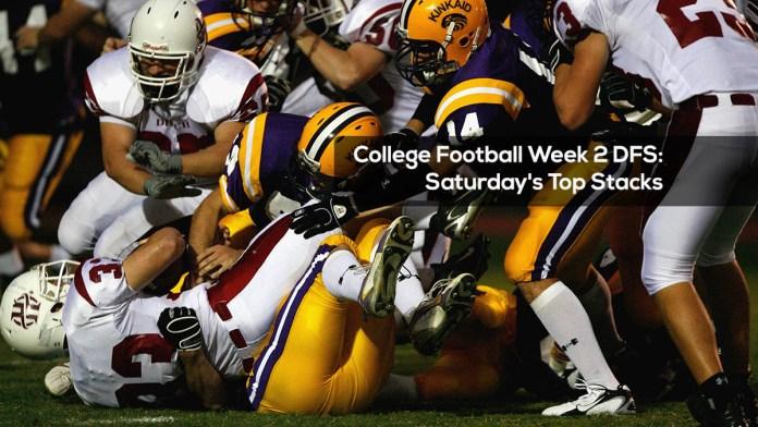 College Football Week 2 DFS: Saturday's Top Stacks