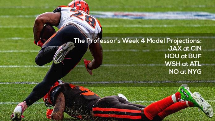 The Professor's Week 4 Model Projections- JAX at CIN, HOU at BUF, WSH at ATL, NO at NYG