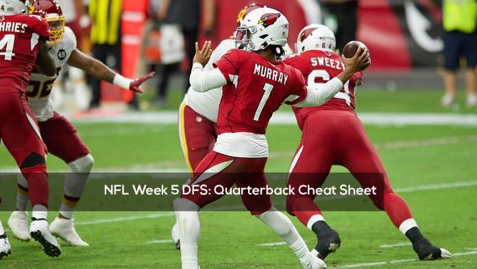 NFL Week 5 DFS- Quarterback Cheat Sheet