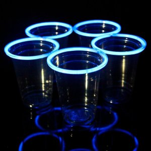 Blue Glowing Beer Pong Cups