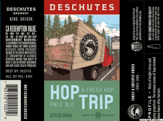 Deschutes Hop Trip Pale Ale 2015 beer label BeerPulse