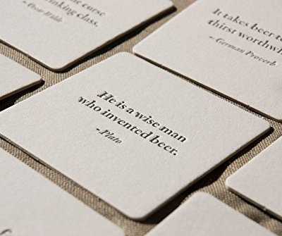 BEER-Quote-Coasters-mixed-set-of-8-Letterpress-printed-35-inches-perfect-gift-for-home-brewer-or-beer-lover-0