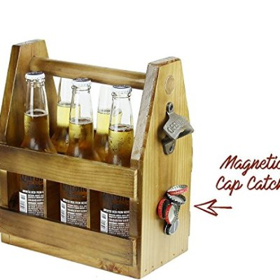 Teikis-Wooden-Beer-Carrier-with-Bottle-Opener-and-Magnetic-Cap-Catch-0