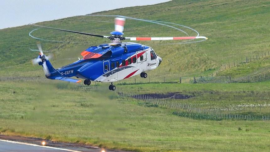 Sullum Voe Shetland Helikopter Hubschrauber Oil Oel