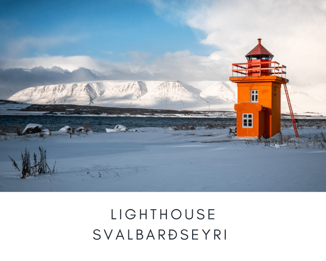 Lighthouse Svalbardseyri Iceland Sunrise Winter Mountains Snow