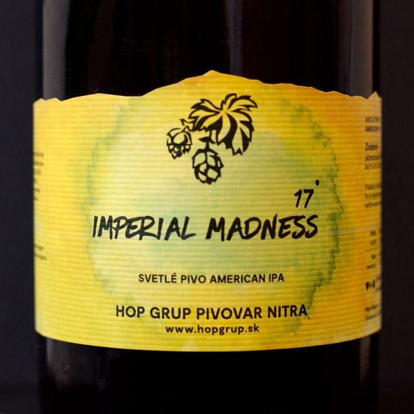 Hop Grup; Imperial Madness 17°; Craft Beer; Remeselné Pivo; Živé pivo; Beer Station; Fľaškové pivo; IPA; pivo Hop Grup