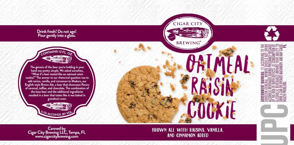 Cigar City Oatmeal Raisin Cookie can