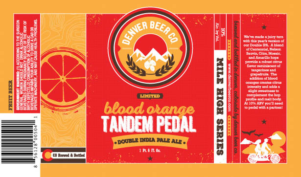 Denver Beer Blood Orange Tandem Pedal