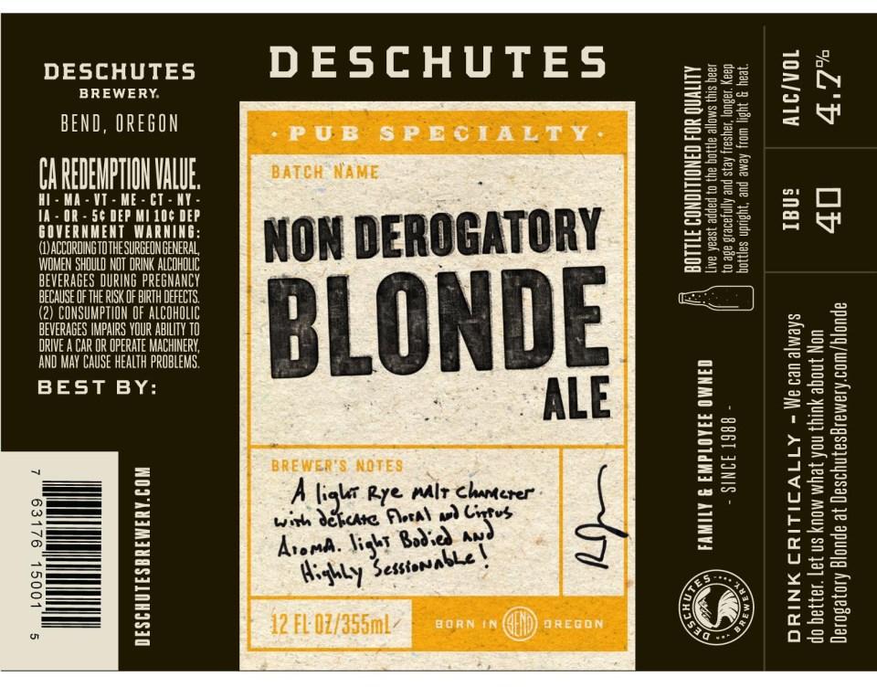Deschutes Non Derogatory Blonde Ale