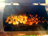 Butternut squash roasted over barrel staves