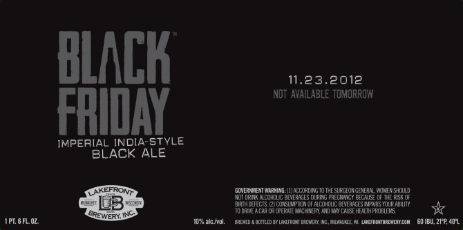 Lakefront Black Friday Imperial India Style Black Ale