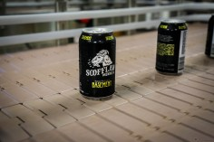 """First run of Scofflaw Basement IPA """"painted"""" cans"""