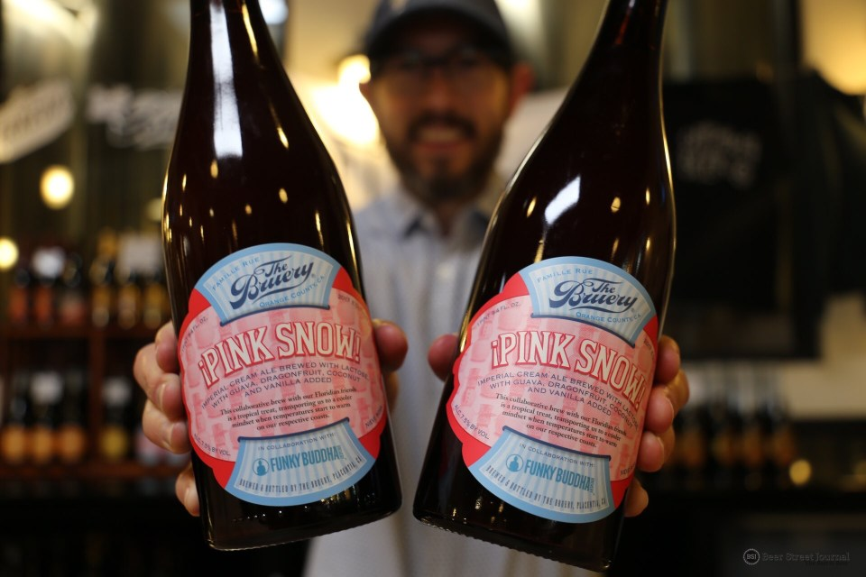 The Bruery Pink Snow bottles