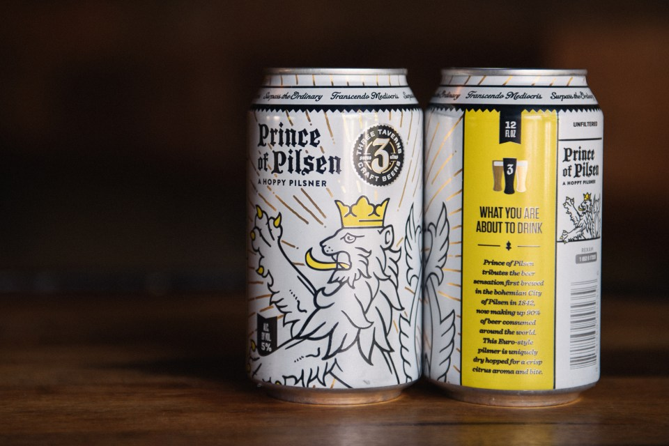 Three Taverns Prince of Pilsen cans