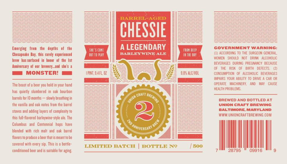 Union Craft Brewing 2nd Anniversary Brew Barrel Aged Chessie A Legendary Barleywine Ale