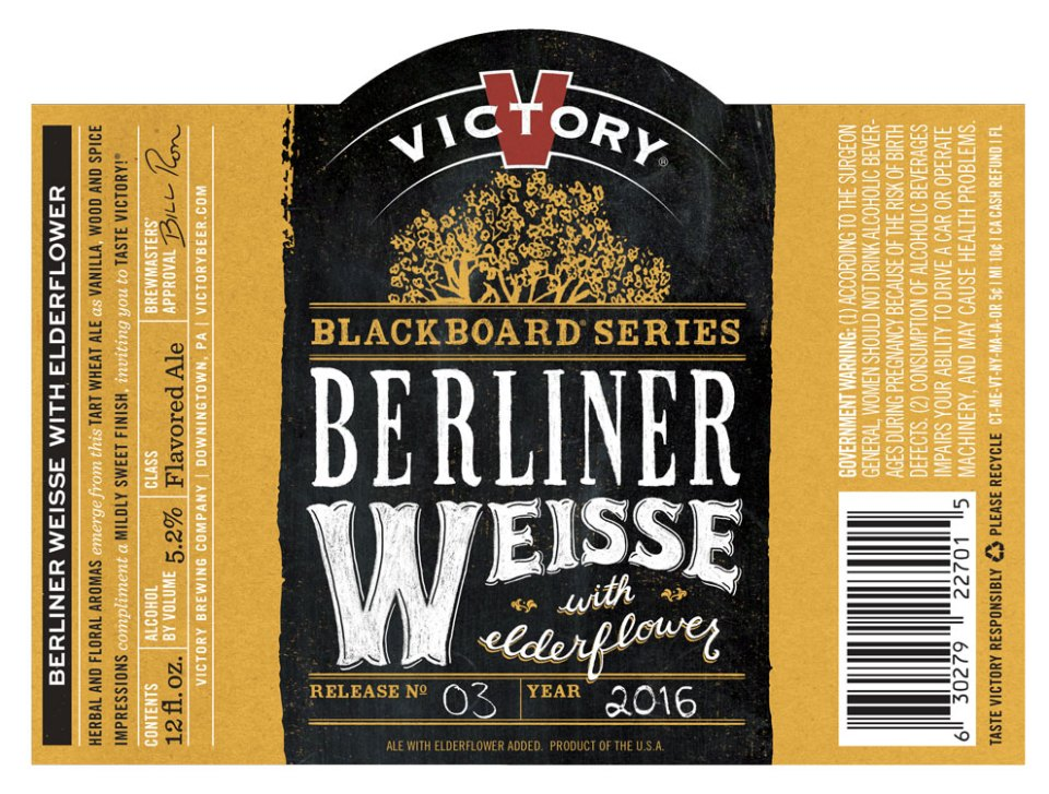Victory Blackboard Series Berliner Weisse with Elderflower