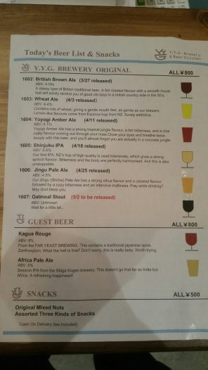 YYG Brewery and Beer Kitchen Brewery Menu 2