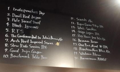 DevilCraft Gotanda Beer Menu