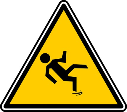 fall caution sign with person slipping