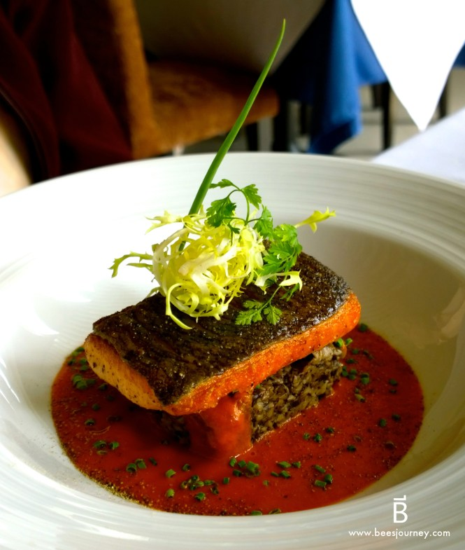 Whale's Belly Luxury Fine Dining Bangkok. King salmon with Wild mushroom duxelle and pomodoro.