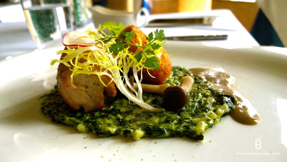 Whale's Belly Luxury Fine Dining Bangkok. Chicken Rollatini. Slow cooked drumstick roulade with mousse line, spinach risotto and wild morel.