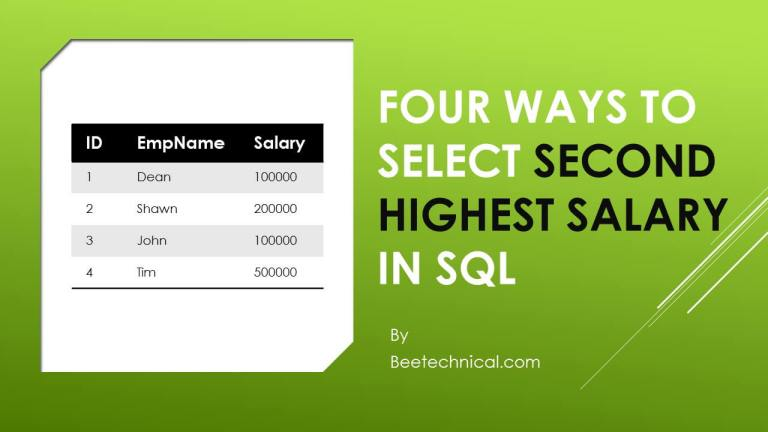 Fours Ways Select Highest Salary,beetechnical.com,Rank in sql,Dense_Rank in sql,Row_Number() in SQL