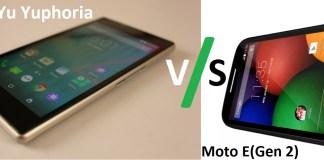 Yu Yuphoria VS Moto E (Gen 2)