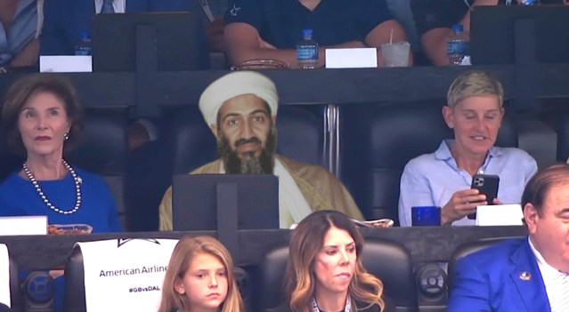 Ellen attending football game with Osama bin Laden