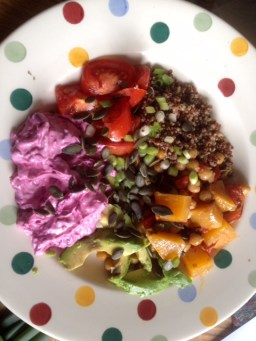 Quinoa goodness bowl with beetroot dip, seeds and roasted butternut squash