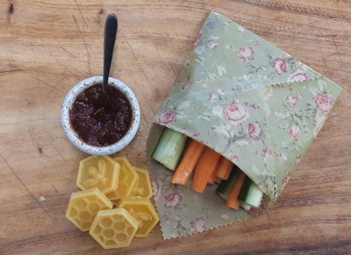 Beeswax wrap wrapping some veggies