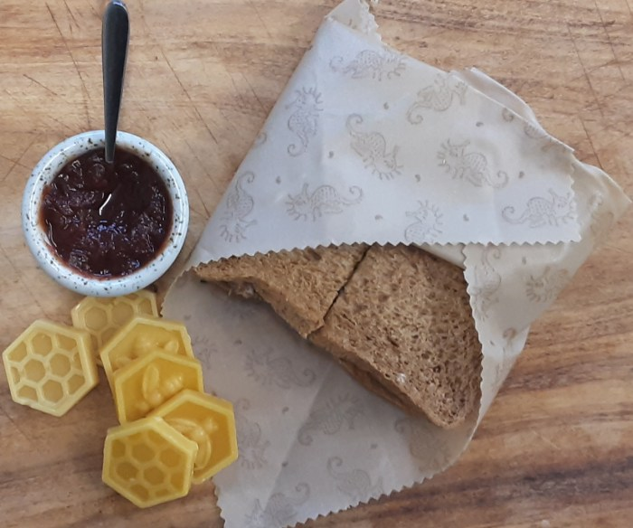 Beeswax Wrap wrapping a sandwich