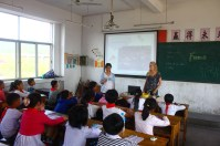 giving English course in local primary school with the topic of forest