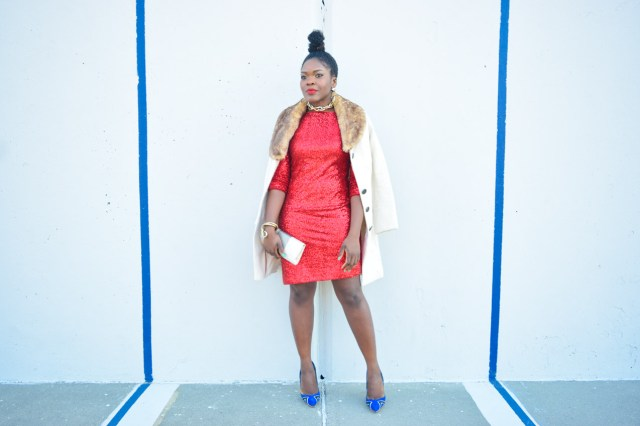 Befitting Style Red Sequins Dress NYFW Day 1 3