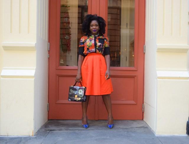 Befitting Style Red Full Skirt Color Block Top 1