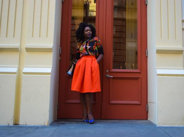 Befitting Style Red Full Skirt Color Block Top 12