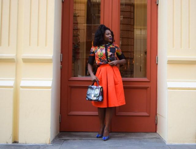 Befitting Style Red Full Skirt Color Block Top 8