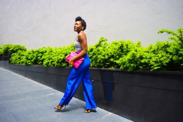 Befitting Style Oyinkan Wearing Cobalt Blue Full Leg Pants 15