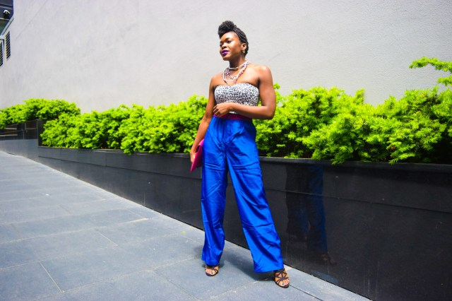 Befitting Style Oyinkan Wearing Cobalt Blue Full Leg Pants 18