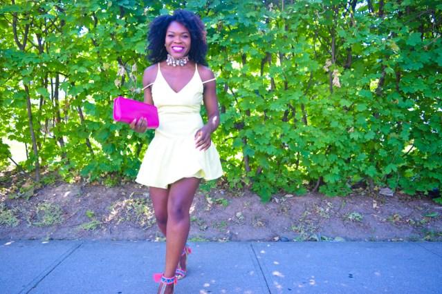 Off The Shoulder Yellow Summer Dress