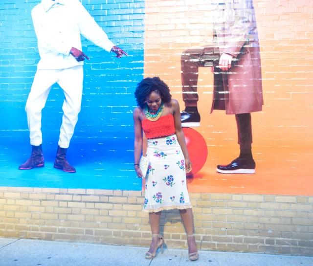 Befitting Style Oyinkan Wearing Sequin Applique Skirt w-Crop top 8