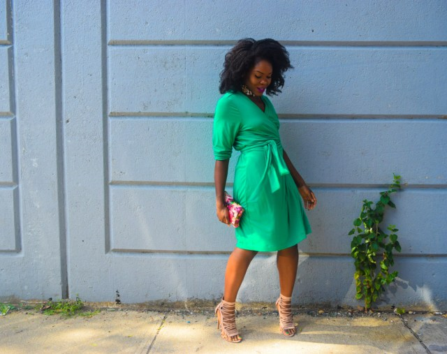 befitting-style-oyinkan-wearing-green-wrap-dress-fall-2