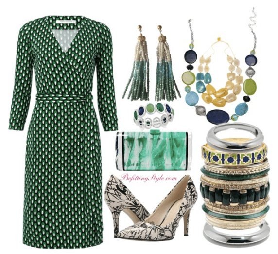 green-wrap-dress-with-green-accessories-for-fall-befitting-style