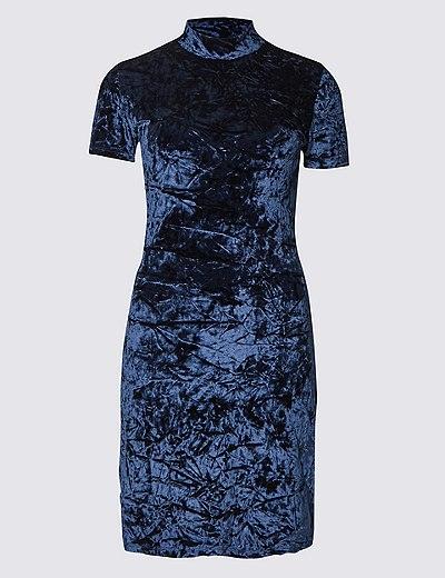 blue-velvet-dress-turtleneck-winter-dress