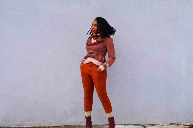 Befitting Style Oyinkan Wearing Brown Ruffled Blazer NYFW 5